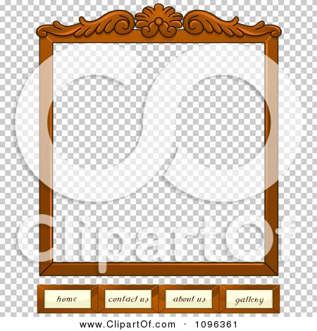 Clipart Wooden Frame Website Template With Home Contact Us About Us ...