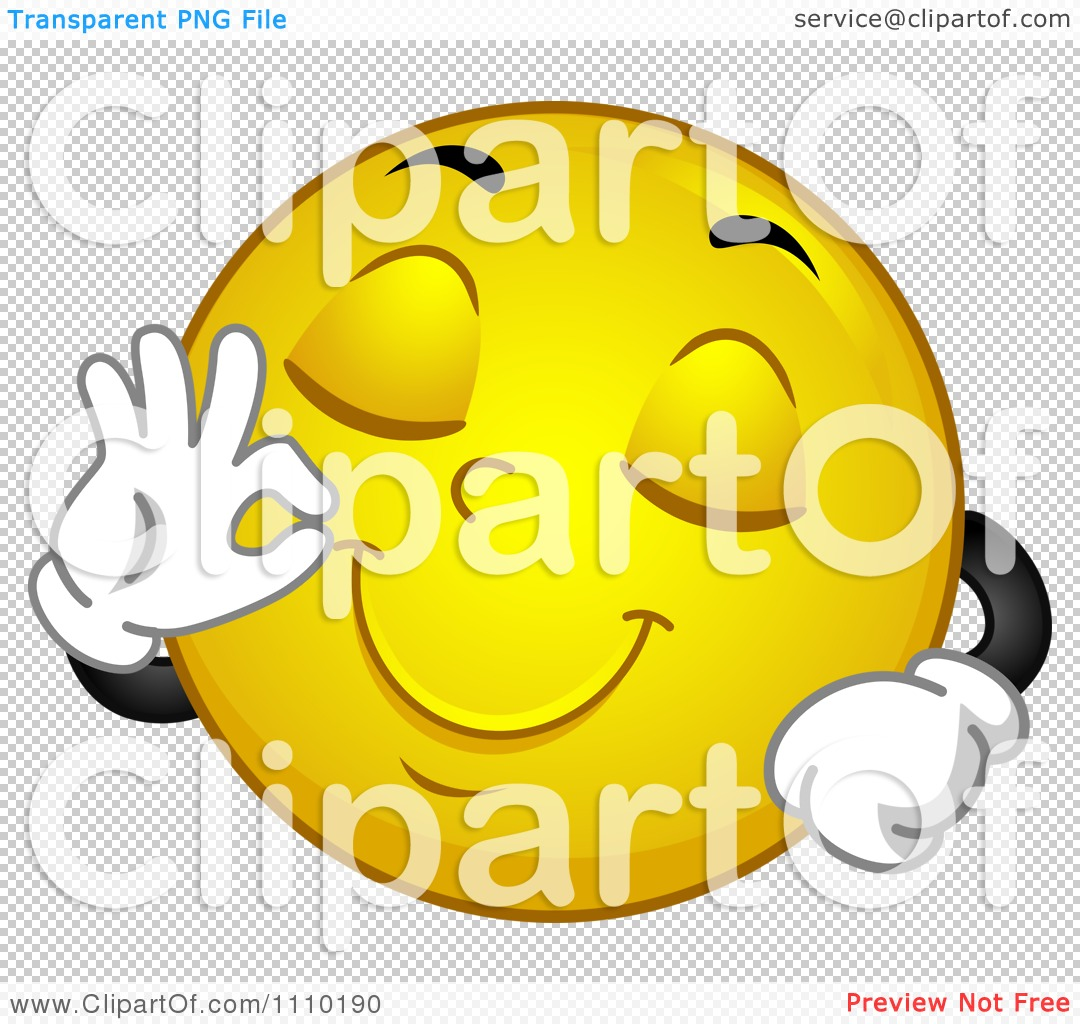 clipart yellow smiley gesturing okay for delicious