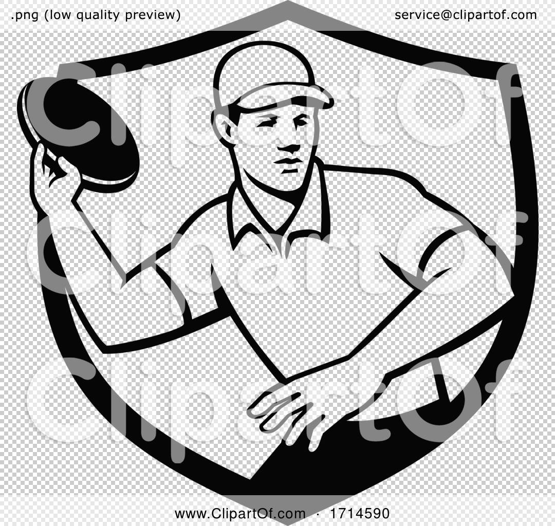 Disc Golf Player Throwing Crest Black and White by ...
