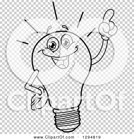 Lineart Clipart Of A Black And White Smart Light Bulb