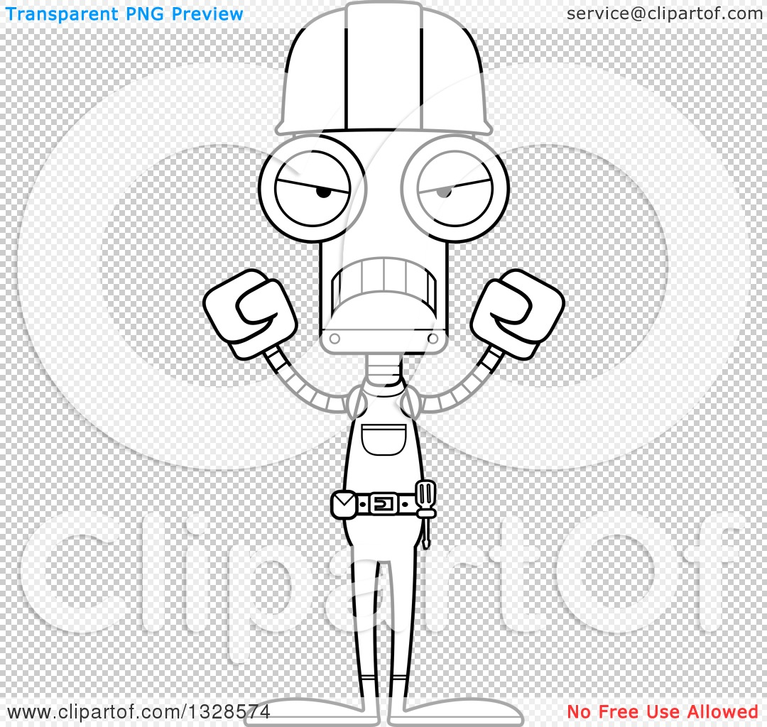 lineart clipart of a cartoon black and white skinny mad robot