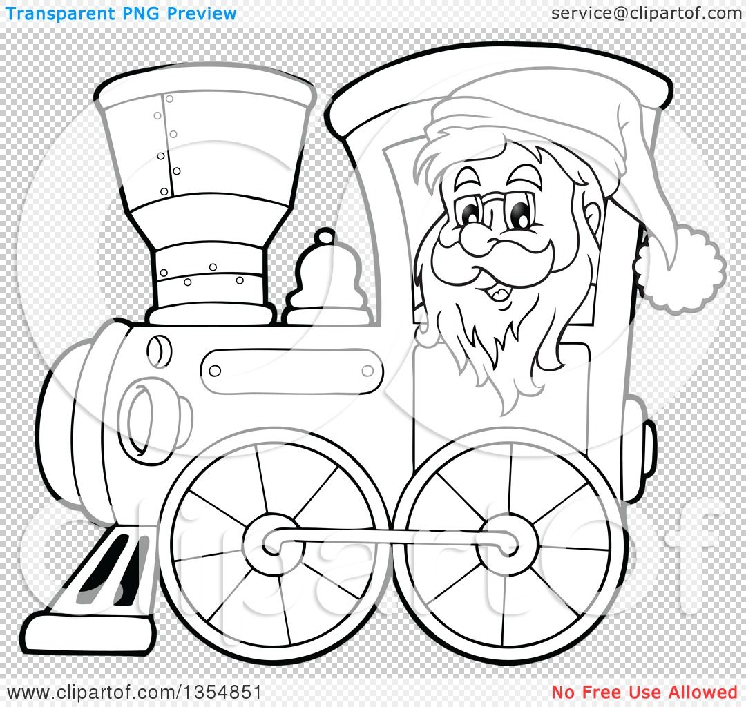 Outline Clipart of a Cartoon Black and White Christmas Santa Claus ...