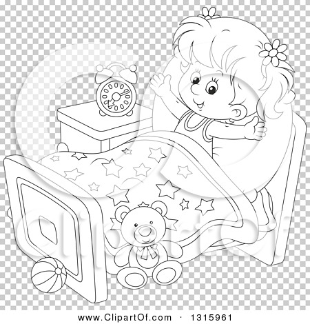 Outline Clipart Of A Cartoon Black And White Girl
