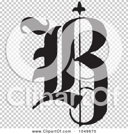 Clip art illustration of a black and white old english abc letter q
