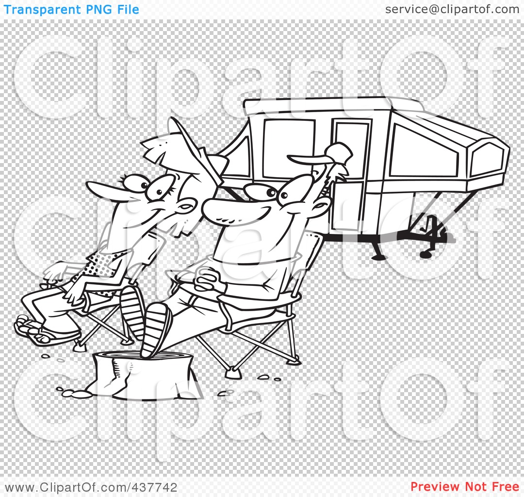 Royalty Free RF Clip Art Illustration Of A Black And White Outline Design Of A Couple Relaxing At A Campsite Near Their Tent Trailer 1024437742 Getting pregnant with pcos naturally