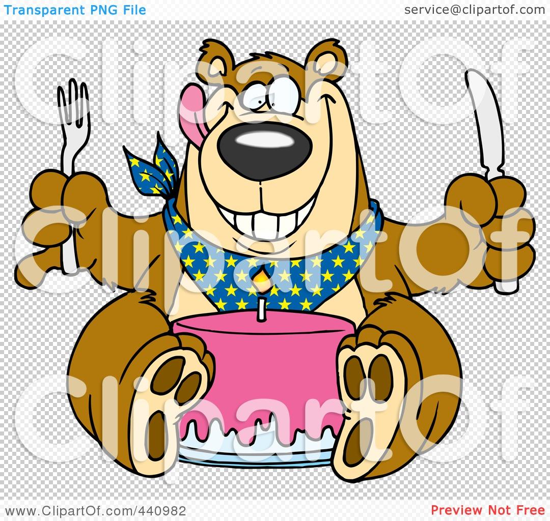 RoyaltyFree RF Clip Art Illustration of a Cartoon Birthday Bear