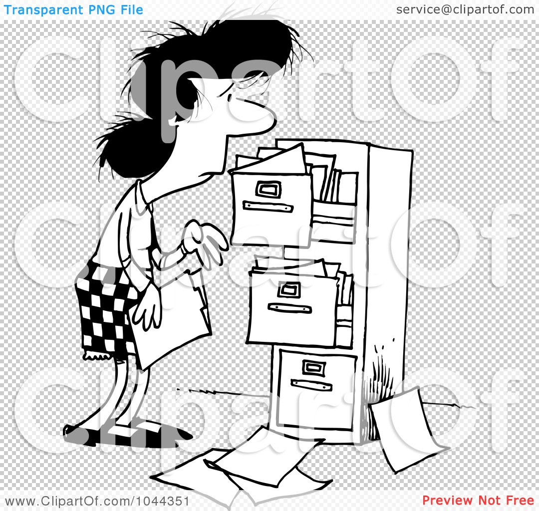 File Cabinet Clip Art: Royalty-Free (RF) Clip Art Illustration Of A Cartoon Black