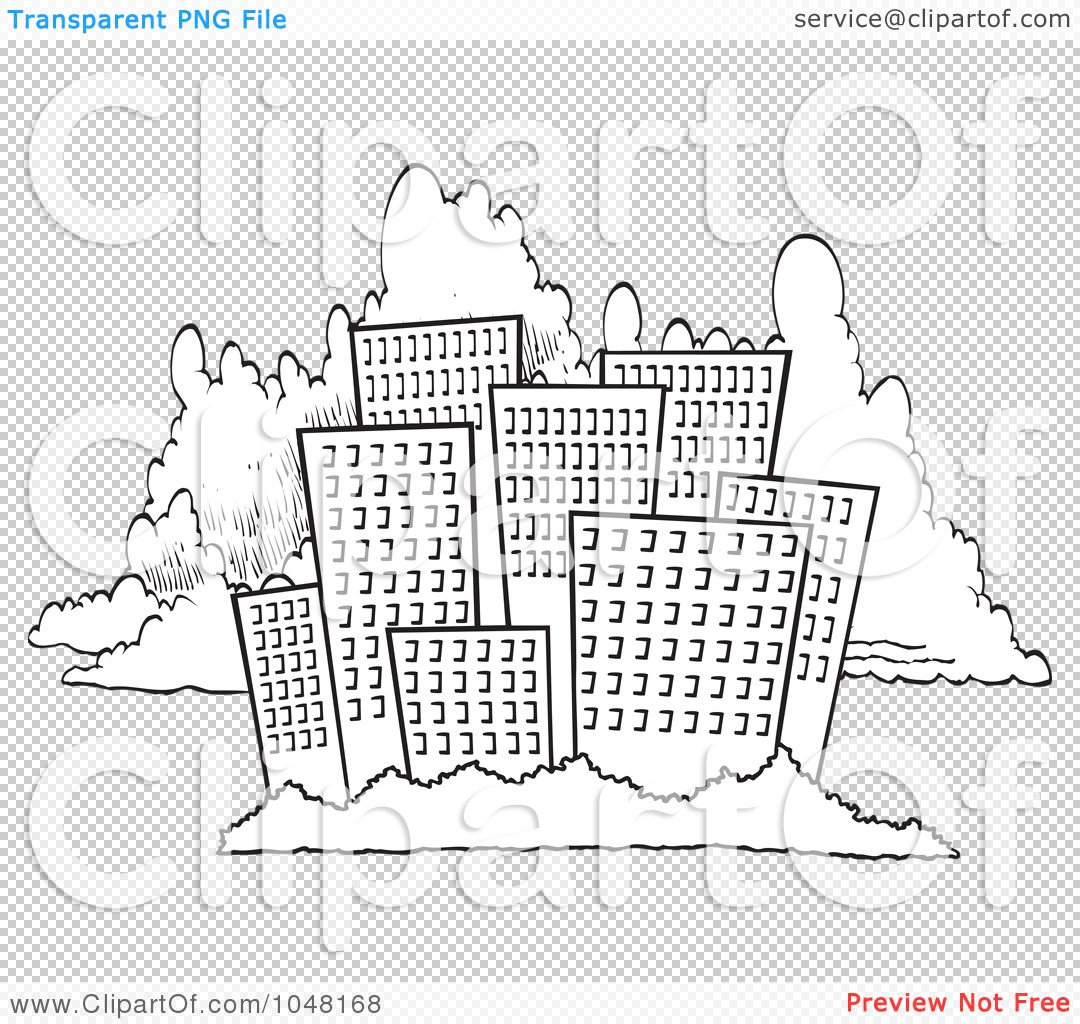 Cartoon black and white outline design of a city skyline against