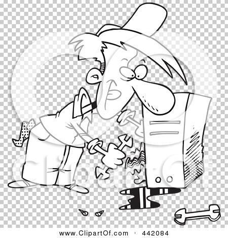 Royalty-Free (RF) Clip Art Illustration of a Cartoon Black ...Computer Repair Clip Art Black And White