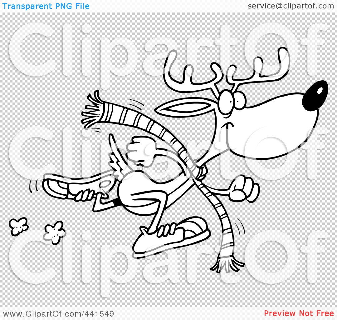 Reindeer Antlers Outline Of a running reindeer,