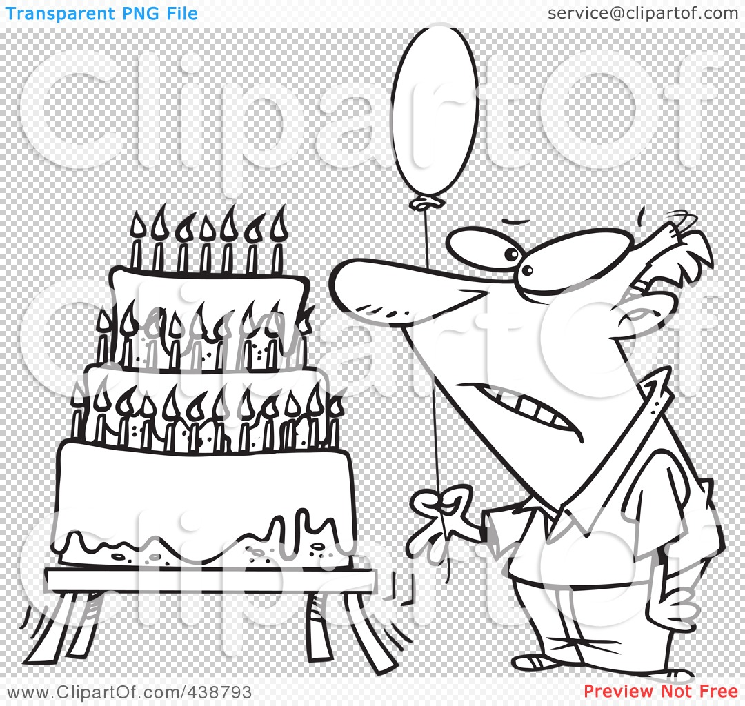 Man Birthday Clip Art Black And White