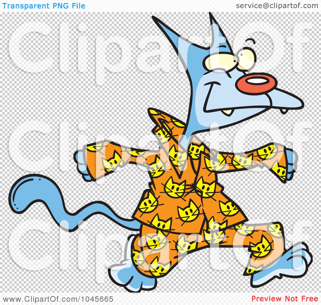 Royalty-Free (RF) Clip Art Illustration of a Cartoon Cat In His ...