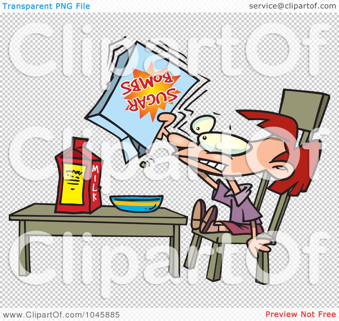 Girl Eating Cereal Clipart Girl eating sugary cereal,