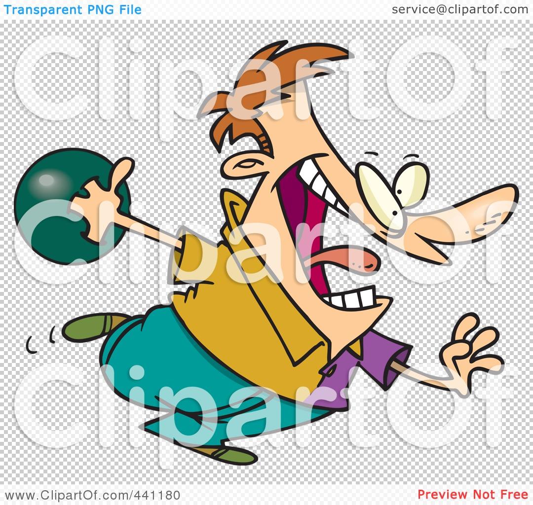 Royalty-Free (RF) Clip Art Illustration of a Cartoon Man Bowling ...