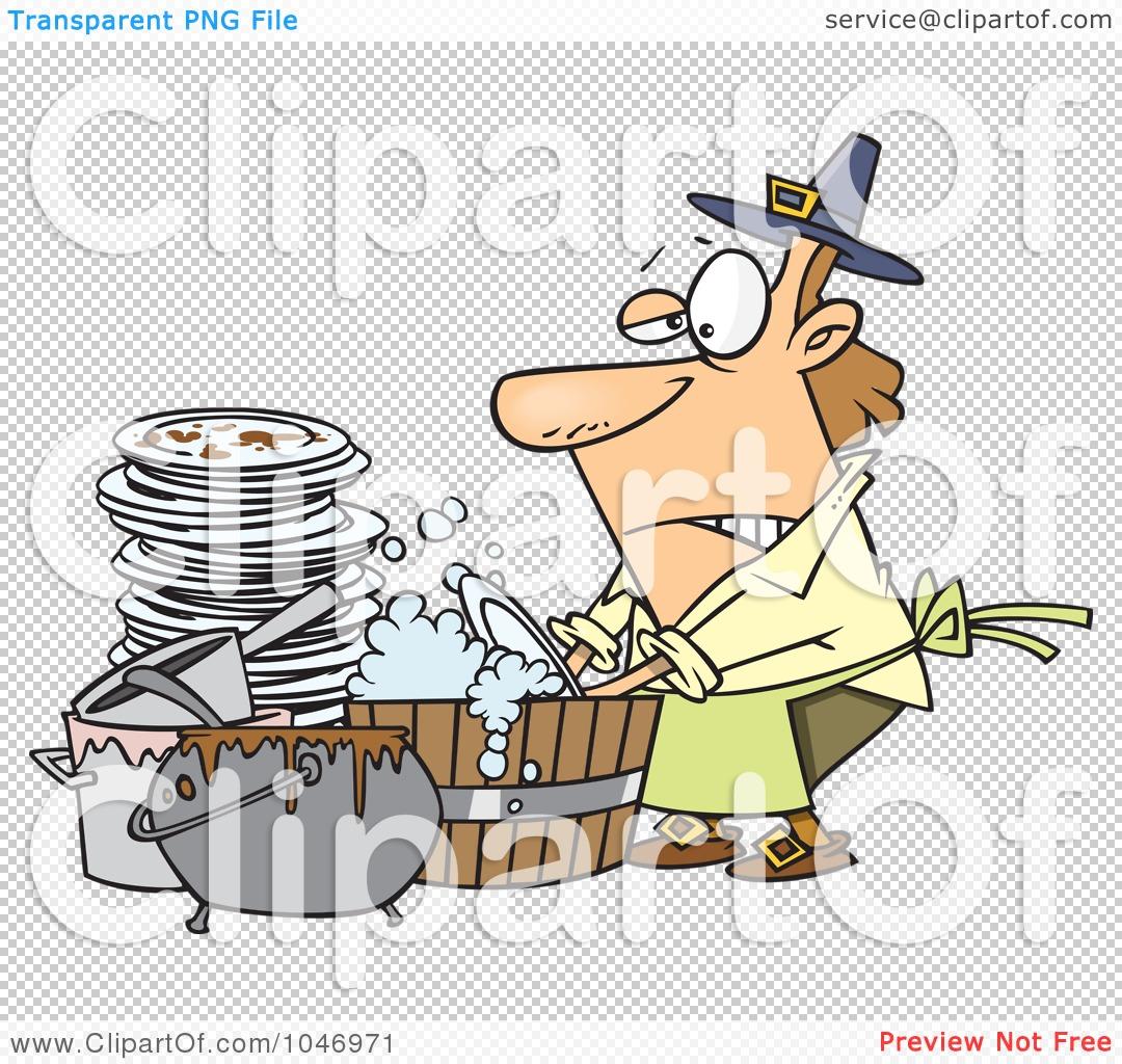 Royalty-Free (RF) Clip Art Illustration of a Cartoon Man Washing ...
