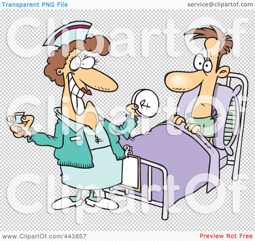 Royalty-Free (RF) Clip Art Illustration of a Cartoon Nurse Giving A Patient