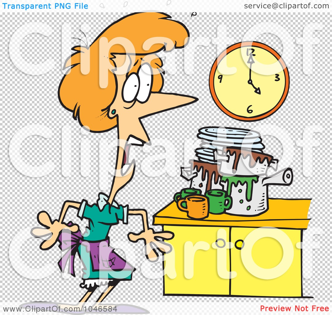 Messy Commercial Kitchen: Royalty-Free (RF) Clip Art Illustration Of A Cartoon Woman