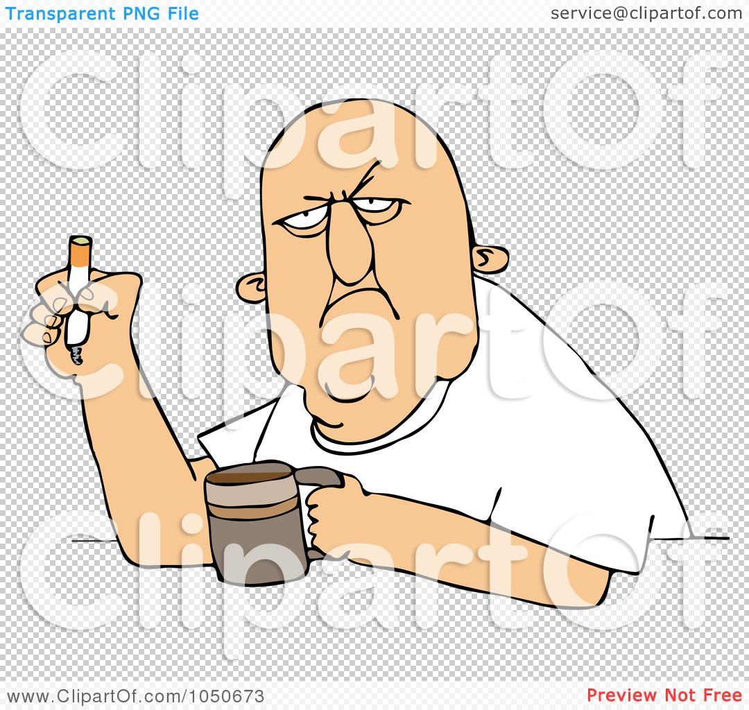 Royalty Free Clip Art Illustration Grumpy Old Man Smoking