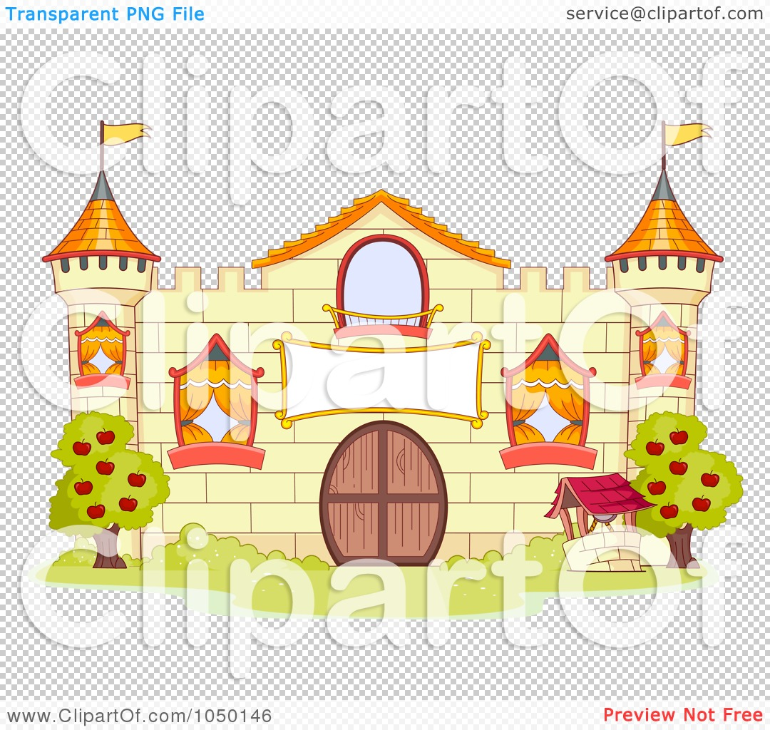 royalty-free (rf) clip art illustration of a yellow castle facade