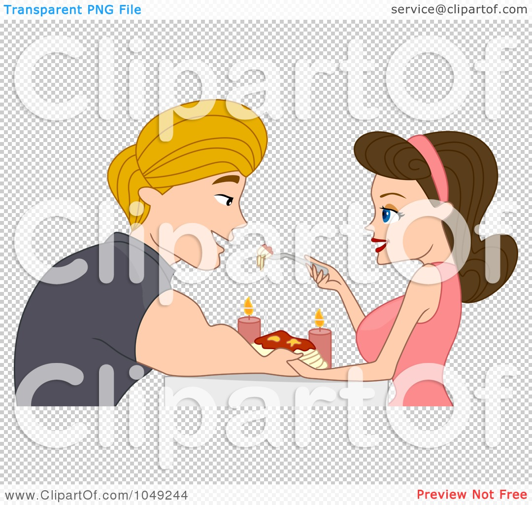 Royalty-Free (RF) Clip Art Illustration of an Adult Valentine Couple Eating ...