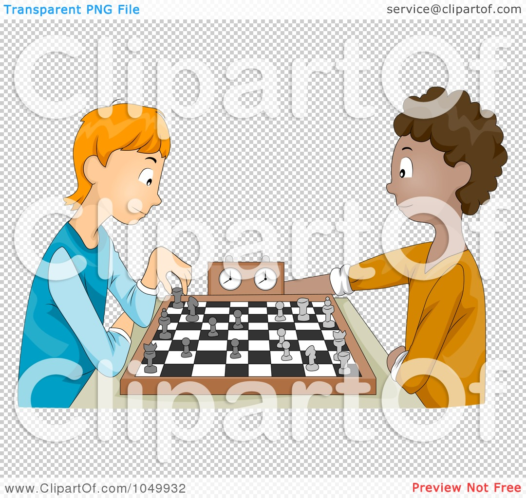 Royalty-Free (RF) Clip Art Illustration of Teen Boys Playing Chess by BNP