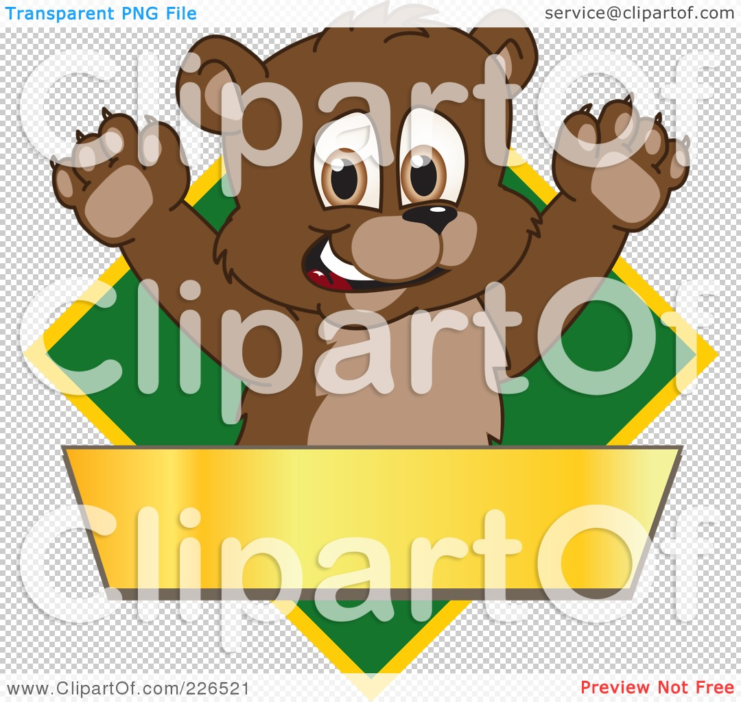 ... School Mascot Logo Over A Green Diamond And Blank Gold Banner by