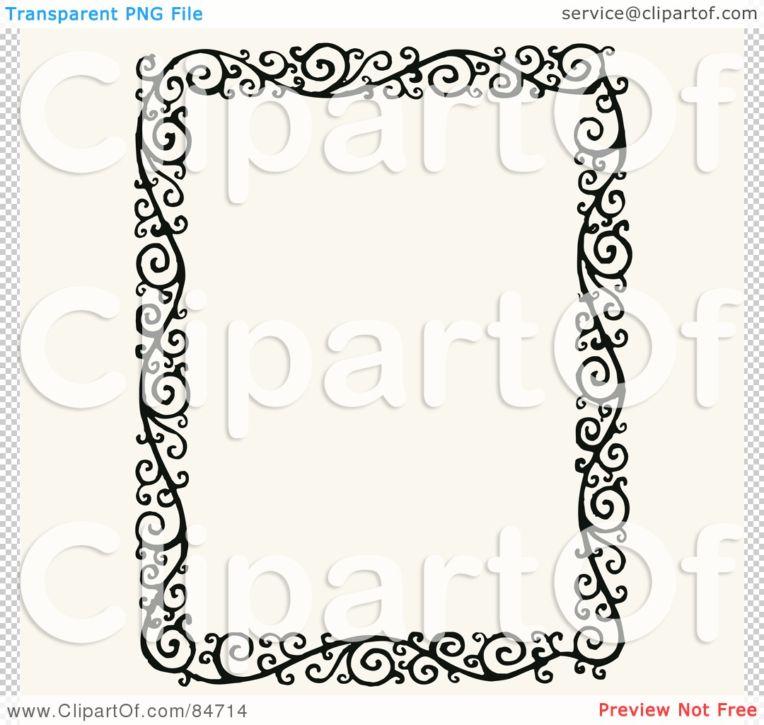 free vector clip art illustration of a black and white ornate floral