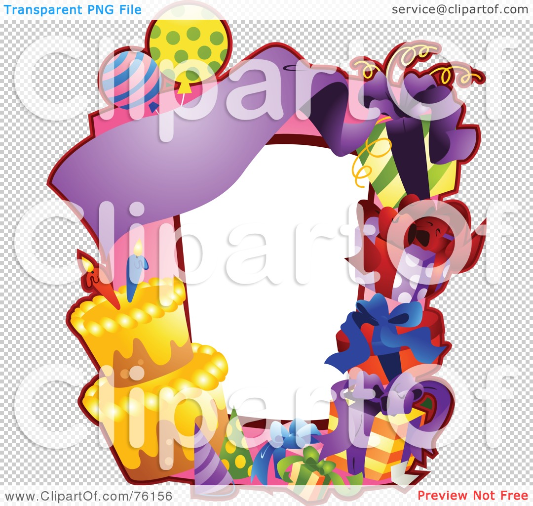 RoyaltyFree RF Clipart Illustration of a Birthday Party Frame by