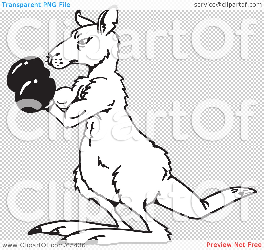 Royalty-Free (RF) Clipart Illustration of a Black And White Boxing ...