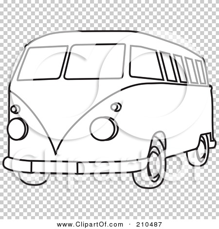 Black And White Coloring Page Outline Of A Hippie Bus Van 210487