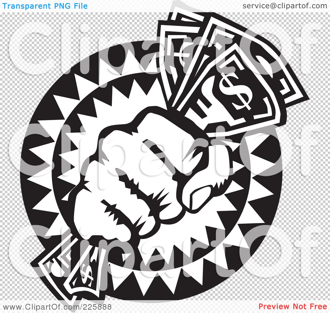 Royalty-Free (RF) Clipart Illustration of a Black And White Hand Holding
