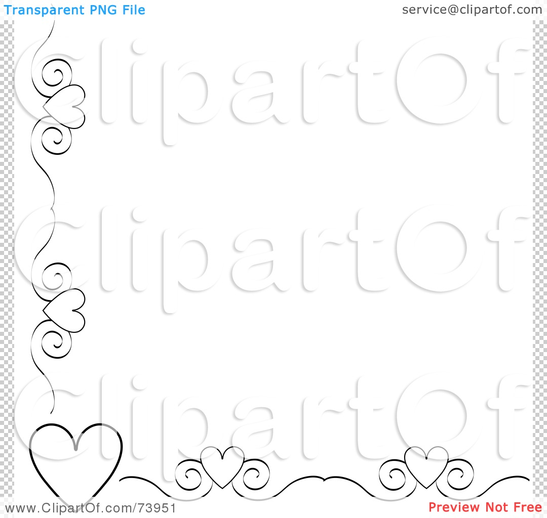 -Free (RF) Clipart Illustration of a Black And White Heart And Scroll