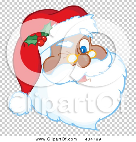 Royalty-Free (RF) Clipart Illustration of A Black Santa Winking by ...