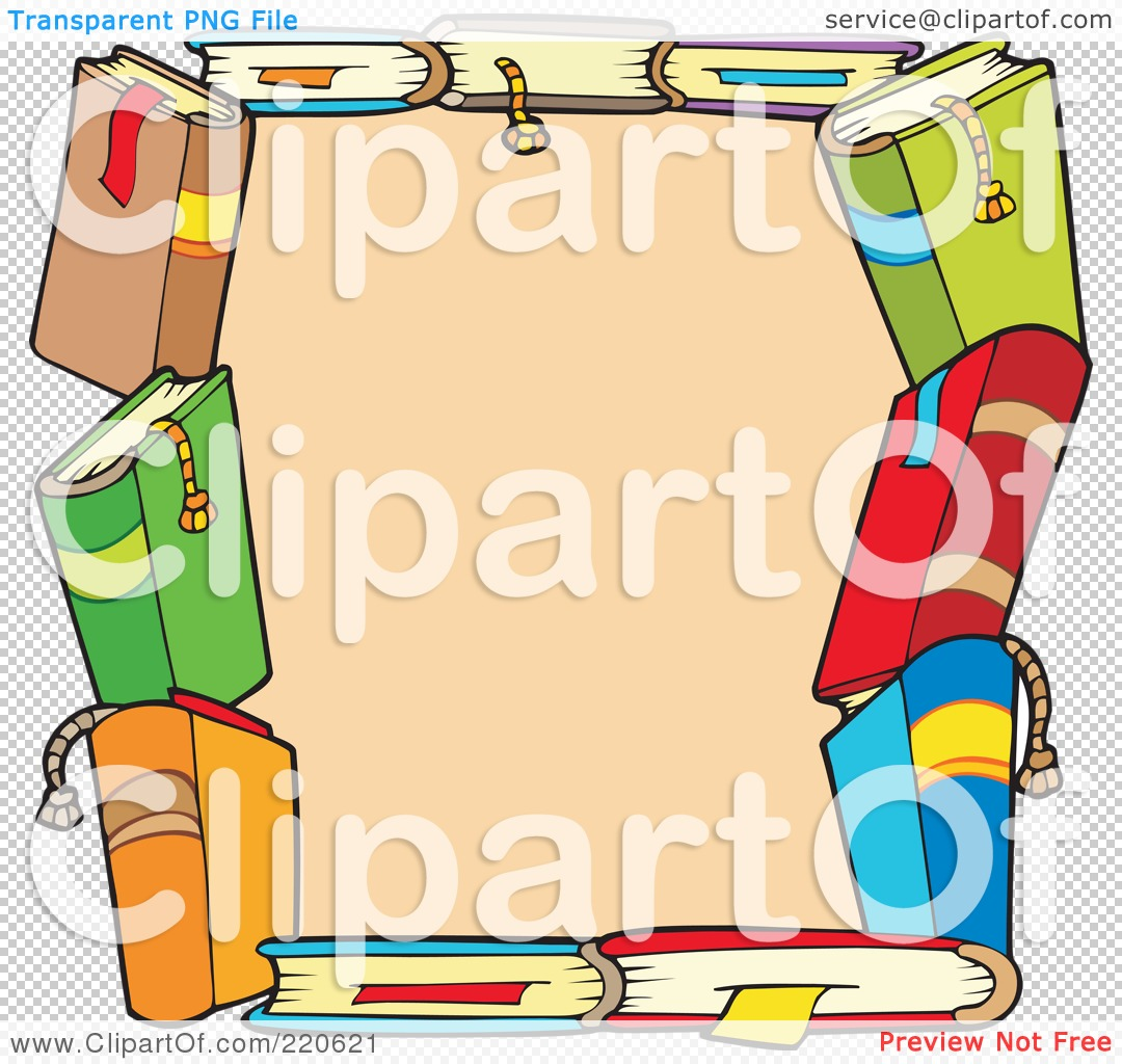 Royalty-Free (RF) Clipart Illustration Of A Border Of Colorful Text Books Around Beige By
