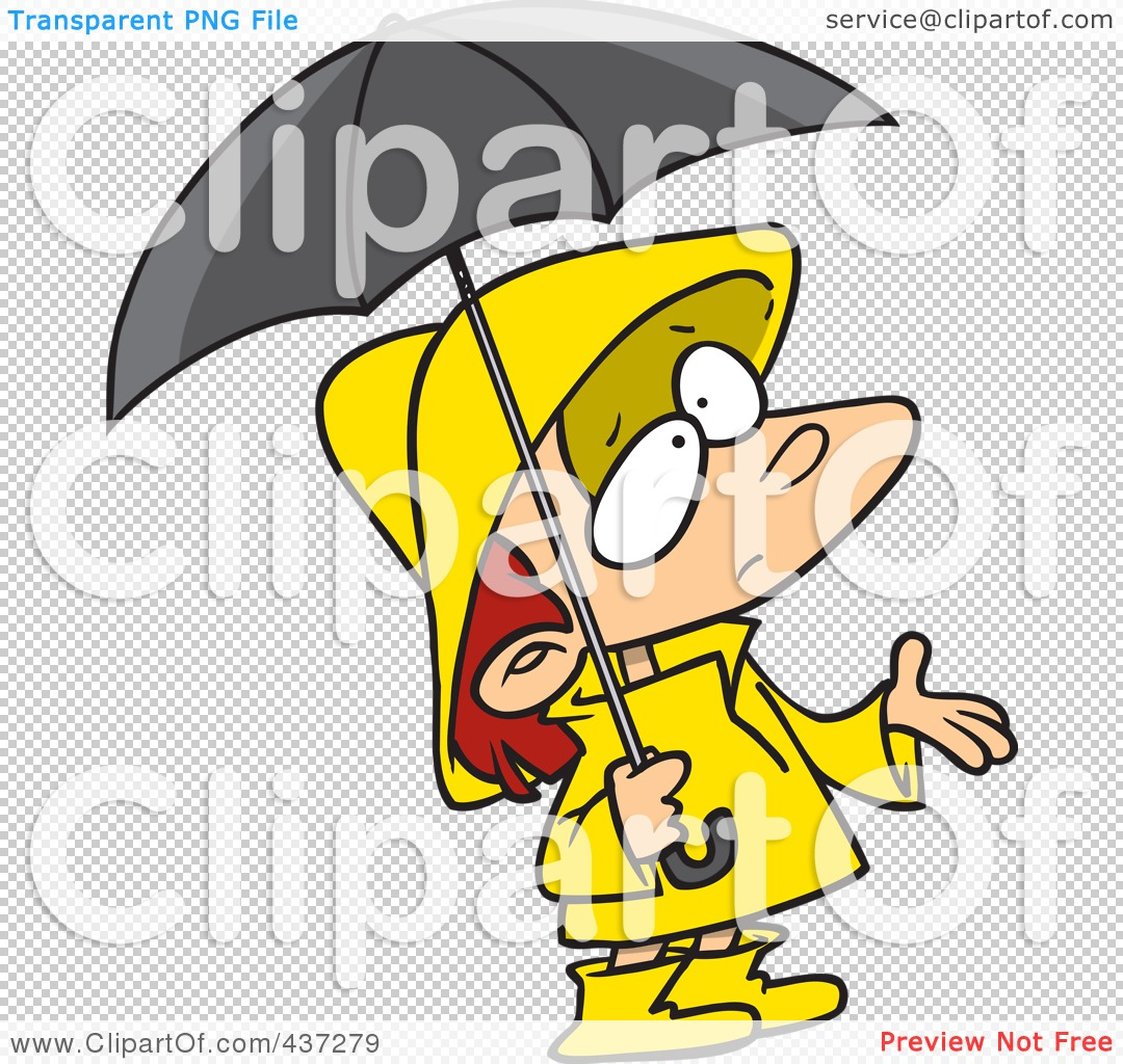 Royalty-Free (RF) Clipart Illustration of a Cartoon Girl In Rain ...