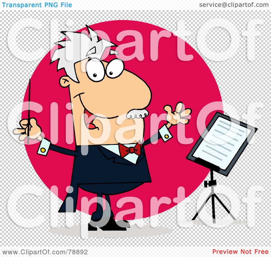 Royalty-Free (RF) Clipart Illustration of a Caucasian Cartoon Conducting Man ...