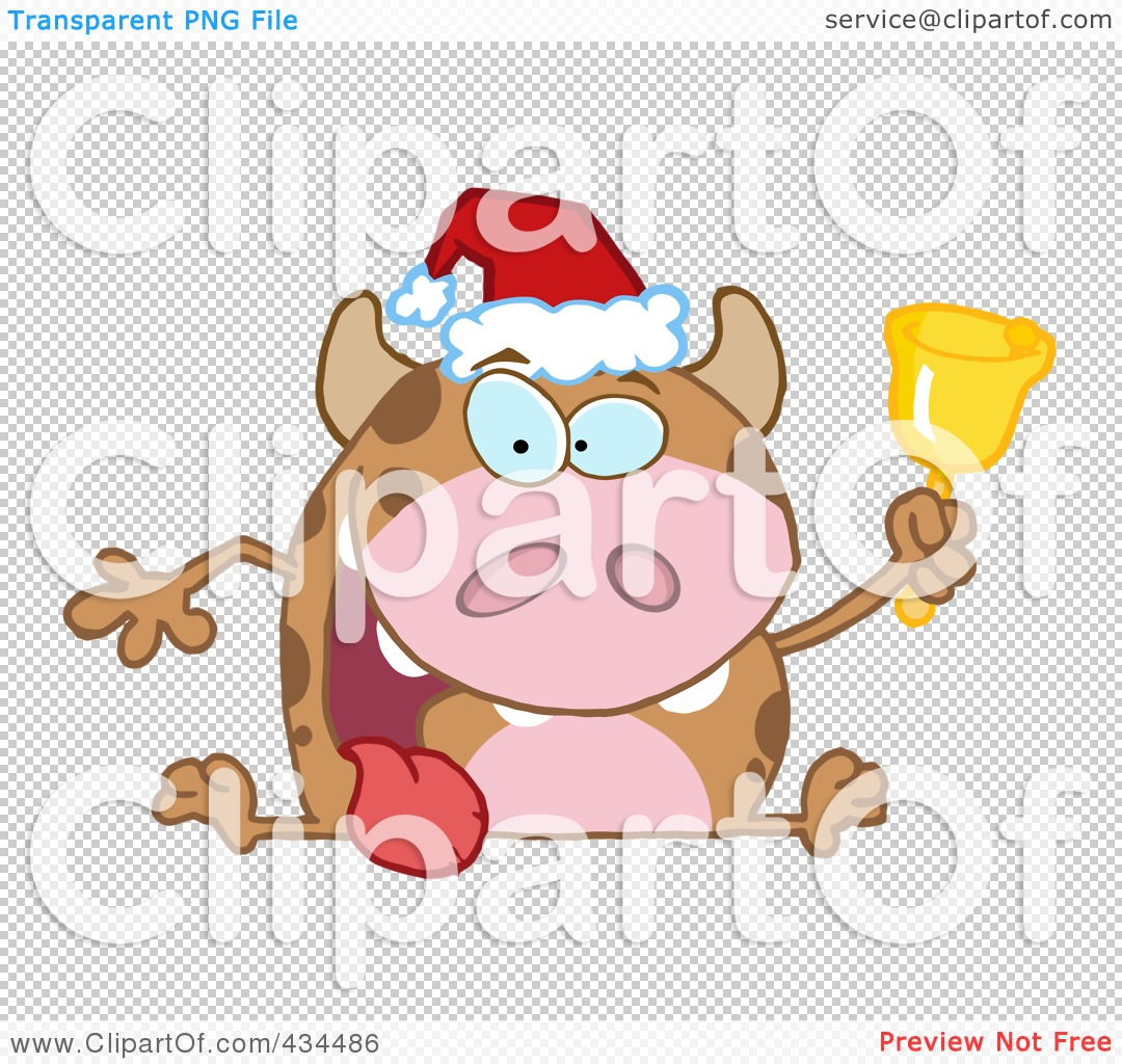 Royalty-Free (RF) Clipart Illustration of a Christmas Cow Ringing ...