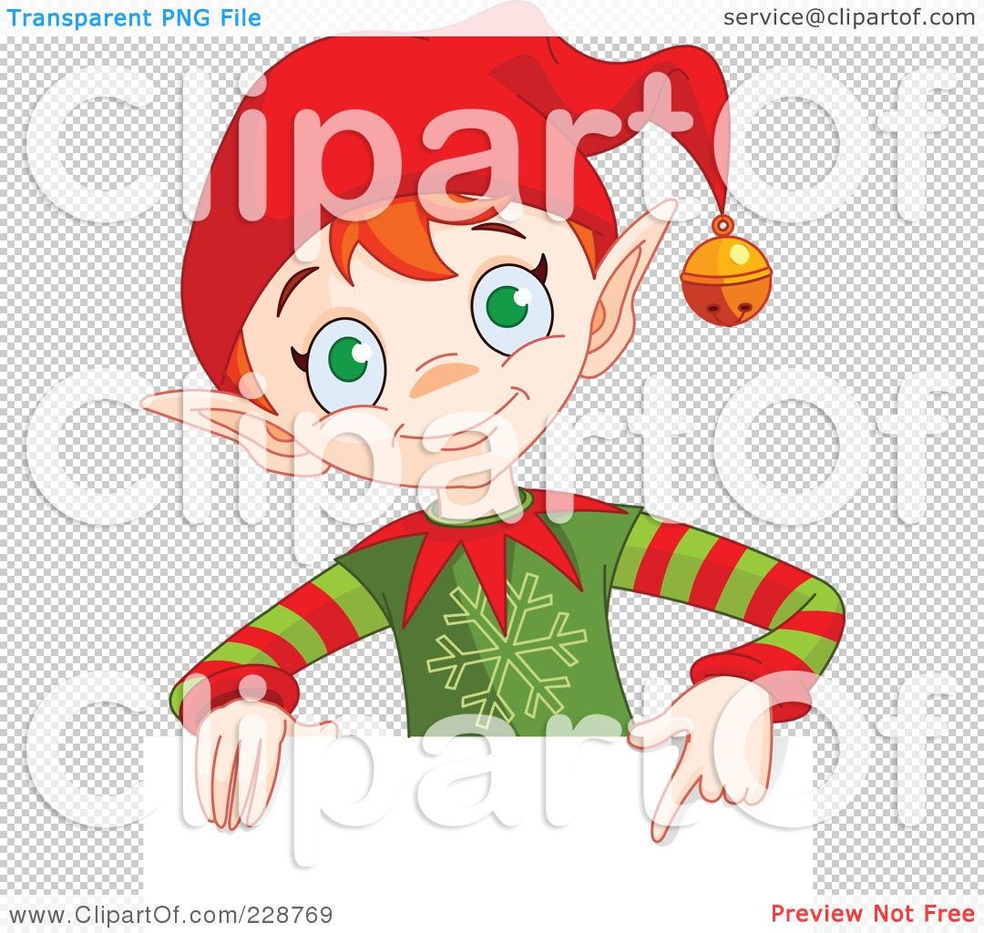... Christmas Elf Holding And Pointing To A Blank Sign by Pushkin #228769