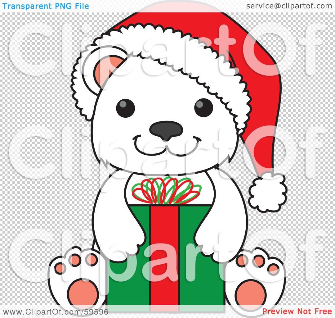 royalty free rf clipart illustration of a christmas polar bear