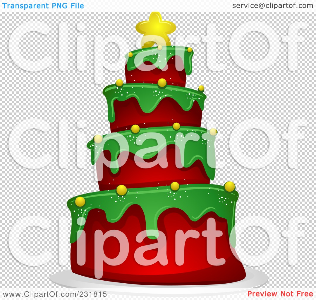 Royalty-Free (RF) Clipart Illustration of a Christmas Tree Cake by ...