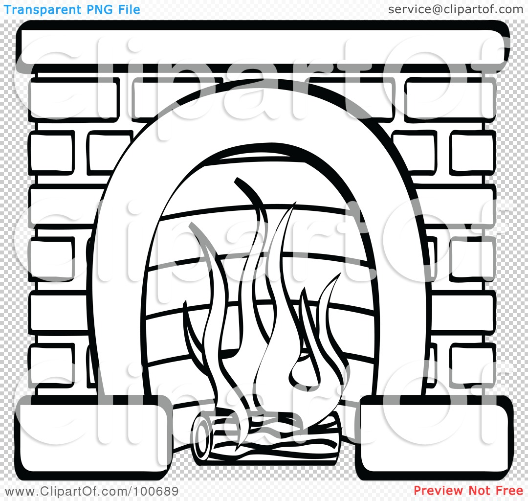 Coloring page outline of a log burning in a brick fireplace by andy