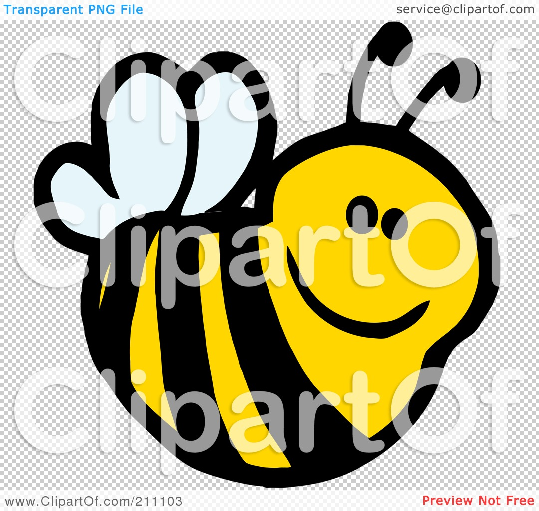 Royalty-Free (RF) Clipart Illustration of a Cute Cartoon Smiling Bee by Hit