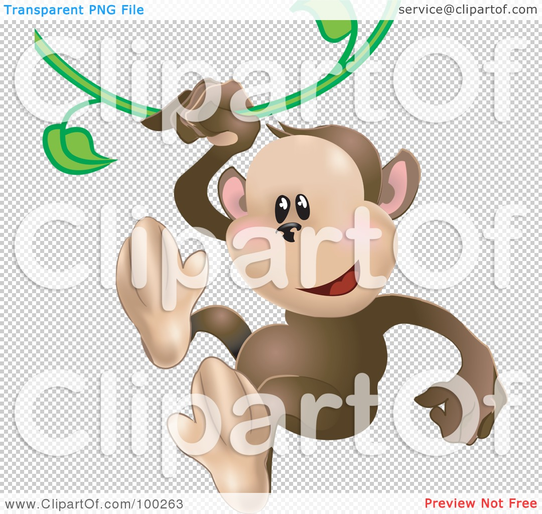 Royalty-Free (RF) Clipart Illustration of a Cute Monkey Swinging ...