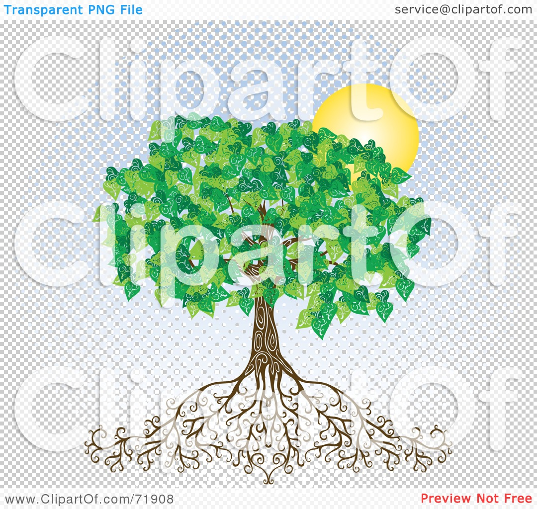 Royalty-Free (RF) Clipart Illustration of a Deeply Rooted Mature Tree With ...