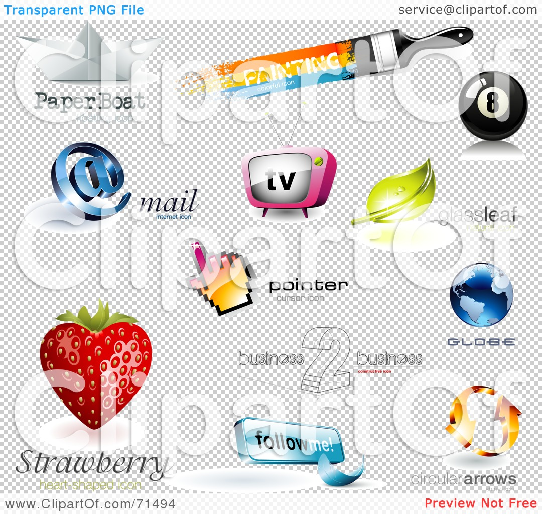Royalty free rf clipart illustration of a digital collage of 3d logo
