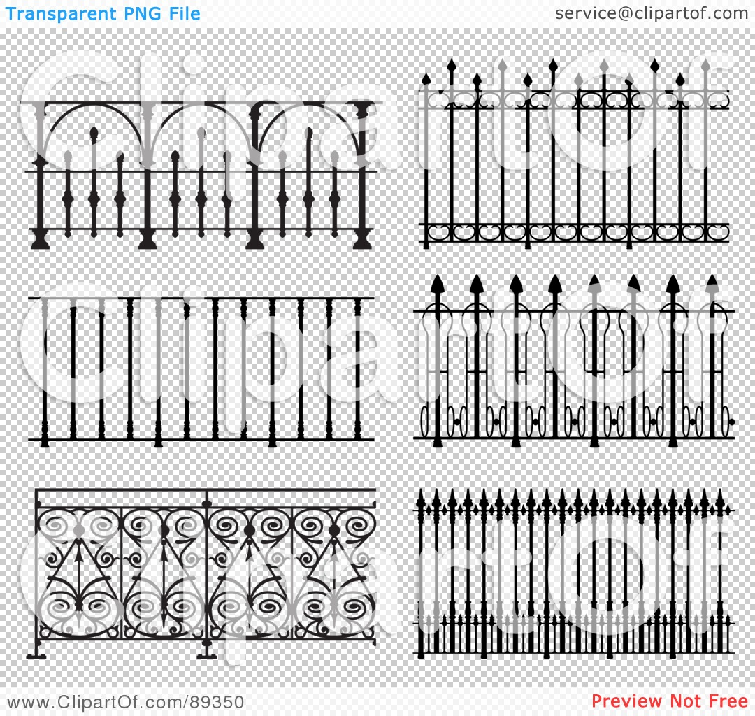 Royalty Free RF Clipart Illustration Of A Digital Collage Of Ornate Wrought Iron Fencing Version 9 102489350