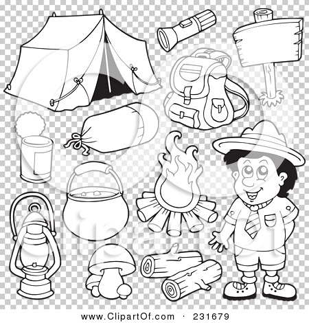 Royalty Free RF Clipart Illustration Of A Digital Collage Outlined Camping Gear By Visekart 231679