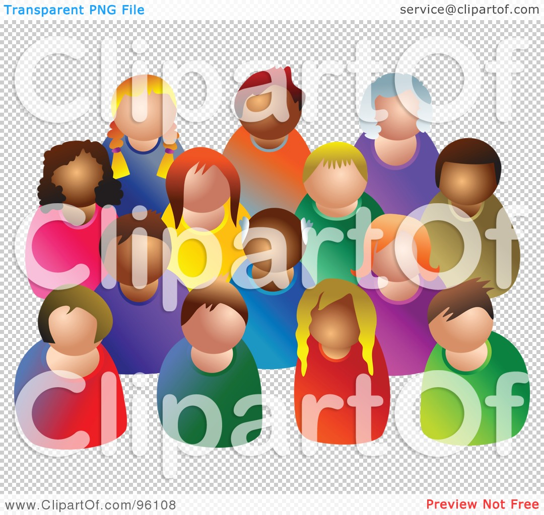 Royalty-Free (RF) Clipart Illustration of a Diverse Crowd Of ...