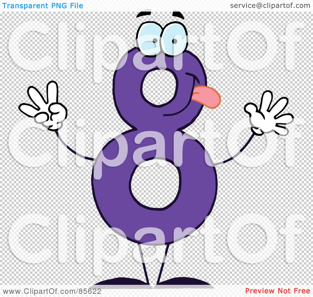 Royalty-Free (RF) Clipart Illustration of a Friendly Purple Number ...