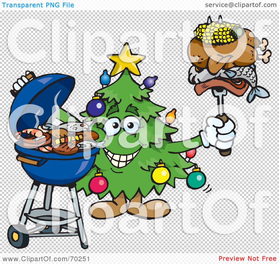 Royalty-Free (RF) Clipart Illustration of a Grilling Christmas ...